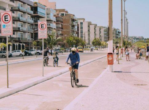 Intervenção na ciclofaixa da Praia do Forte foi entregue pela Prefeitura neste sábado (3) | Foto: Prefeitura de Cabo Frio/Divulgação
